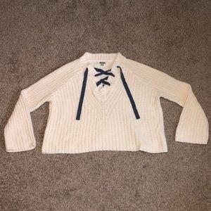 Aerie medium white sweater w/ blue crisscross ties